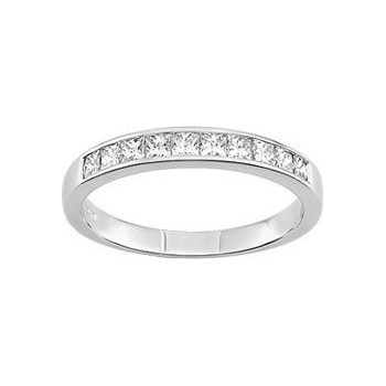 Demi-alliance PRINCESSE or blanc 750 /°° diamants 0,70 carat