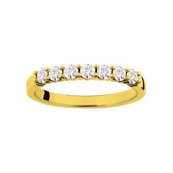 Demi-alliance GRIFFE or jaune 750 /°° diamants 0,43 carat