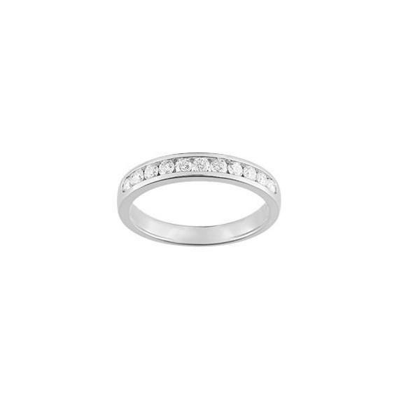 Demi-alliance RAIL or blanc 750 /°° diamants 0,40 carat