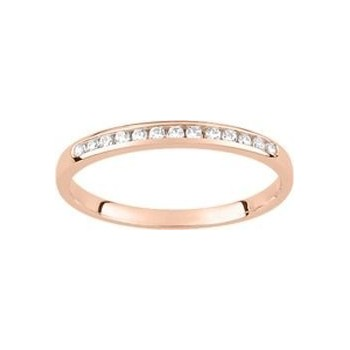Demi-alliance RAIL or rose 750 /°° diamants 0,10 carat