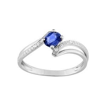 Bague HAYLEY or blanc 750 /°° diamants saphir bleu 0.26 carat
