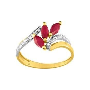 Bague ALIZEE or jaune or blanc 750 /°° diamants rubis