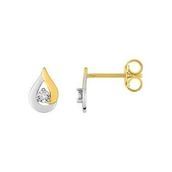 Boucles d'oreilles JENNY or jaune or blanc 750 /°° diamants 0,01 carat