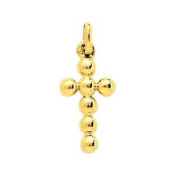 Croix PERLES or jaune 750 /°° dimensions 19 mm x 8 mm