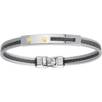 Bracelet TRIBORD or jaune 750 /°° câble acier