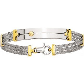 Bracelet HUNE or jaune 750 /°° câble acier