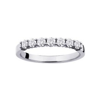 Demi-alliance GRIFFE or blanc 750 /°° diamants 0,43 carat