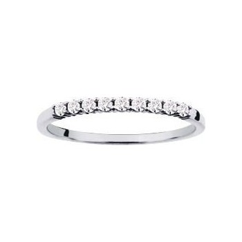 Demi-alliance GRIFFE or  blanc 750 /°° diamants 0,12 carat