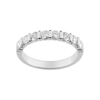 Demi-alliance BARETTE or blanc 750 /°° diamants 0,80 carat