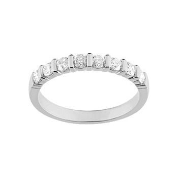 Demi-alliance BARETTE or blanc 750 /°° diamants 0,50 carat