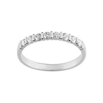 Demi-alliance BARETTE or blanc 750 /°° diamants 0,30 carat