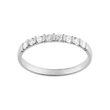 Demi-alliance BARETTE or blanc 750 /°° diamants 0,25 carat