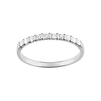 Demi-alliance BARETTE or blanc 750 /°° diamants 0,20 carat