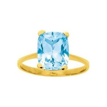 Bague SPIRIT or jaune 750 /°° topaze bleue 3.80 carats