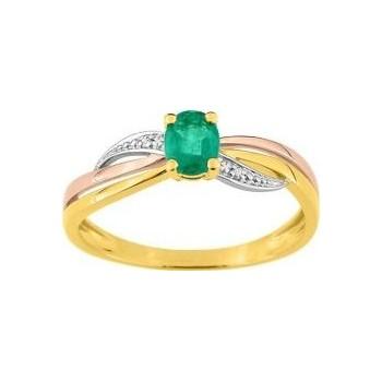 Bague PIMPANTE or jaune or rose or blanc 750 /°° diamants émeraude 0.35 carat