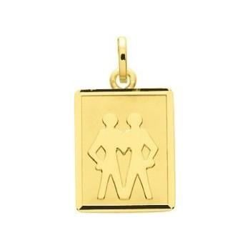 Médaille zodiaque GEMEAUX or jaune 750 /°° rectangle