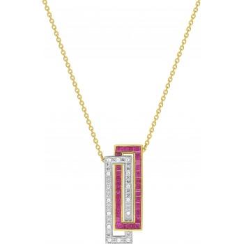 Collier IMAGINE or jaune or blanc  750 /°° diamants rubis 1,45 carat