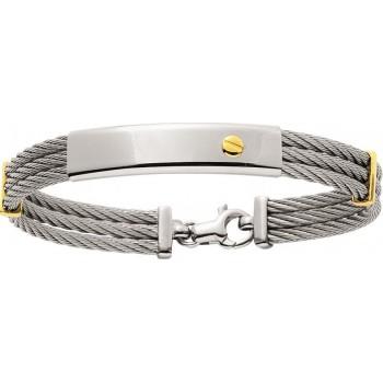 Bracelet GALION or jaune 750 /°° câble acier