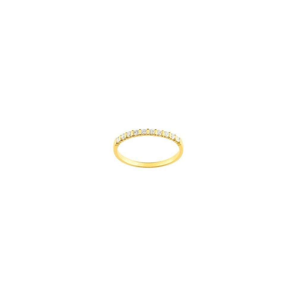 Demi-alliance BARETTE or jaune 750 /°° diamants 0,20 carat
