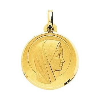 Médaille Vierge SYLVIANE or jaune 750 /°° diamètre 18 mm