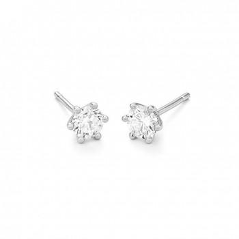 Boucles d'oreilles or blanc 750/°° diamants 0,60 carat