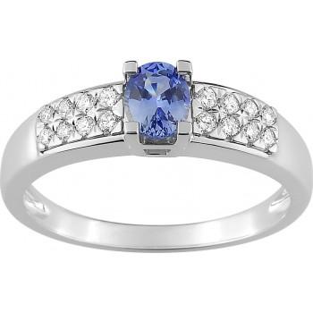 Bague LEINA or blanc 750 /°°  diamants saphirs 0,50 carat