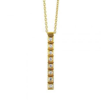 Pendentif or jaune MARINETTE 750/°°  diamants 0.35 carat