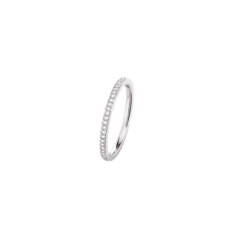 PONCE OR-Demi-alliance or blanc palladié 750 /°° diamants 0.14 carat