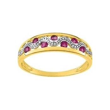 Bague LINE or jaune 750 /°° diamants rubis
