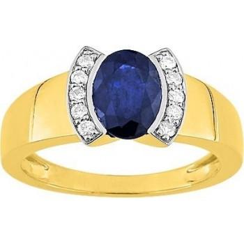 Bague BOSPHORE or jaune 750 /°° diamants saphir bleu 1.60 carat