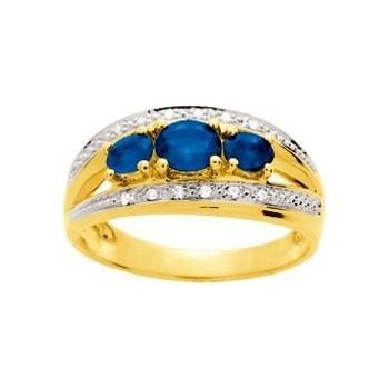Bague SABARA or jaune 750 /°° diamants saphirs bleus 0.90 carat