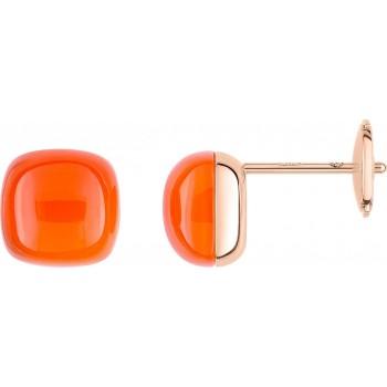 Boucles d'oreilles MARTINEZ or rose 750 /°° cornaline orange 6.44 carats