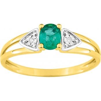 Bague CLASSICA or jaune 750 /°° (18 carats) diamant émeraude