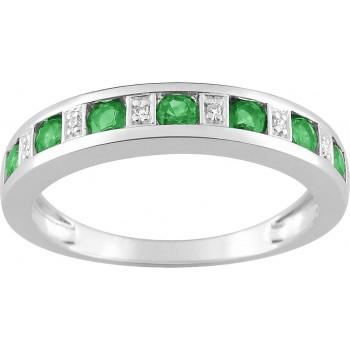 Bague SIMONE or blanc 750 /°° (18 carats) diamants émeraudes
