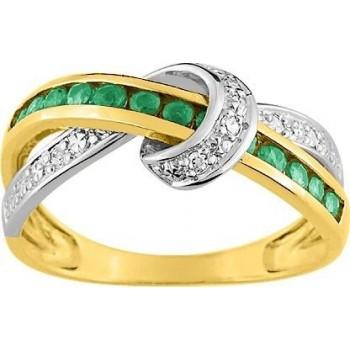 Bague FRONTIGNAN or jaune (18 carat) diamants émeraudes