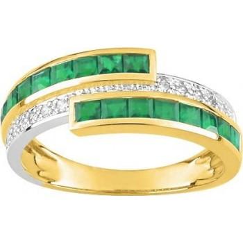 Bague BERTILLE or jaune 750 /°° (18 carats) diamants émeraudes