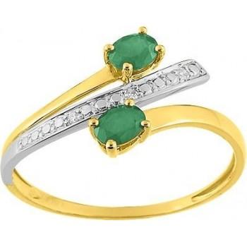 Bague BLISS or jaune 750 /°° (18 carats) diamants émeraudes