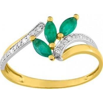 Bague ALIZEE or jaune or blanc 750 /°° (18 carats) diamants émeraudes