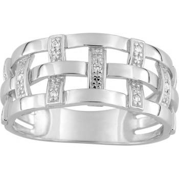 Bague TRESSE or blanc 750 /°° diamants 0,06 carat