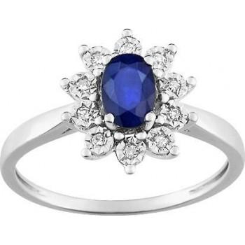 Bague PANACEA or blanc 750 /°° diamants saphir bleu 0.59 carat