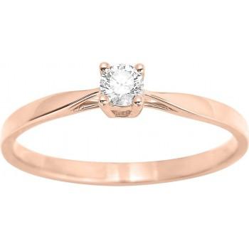 Bague de fiançailles CRIOS or rose 750 /°° diamant 0,14 carat