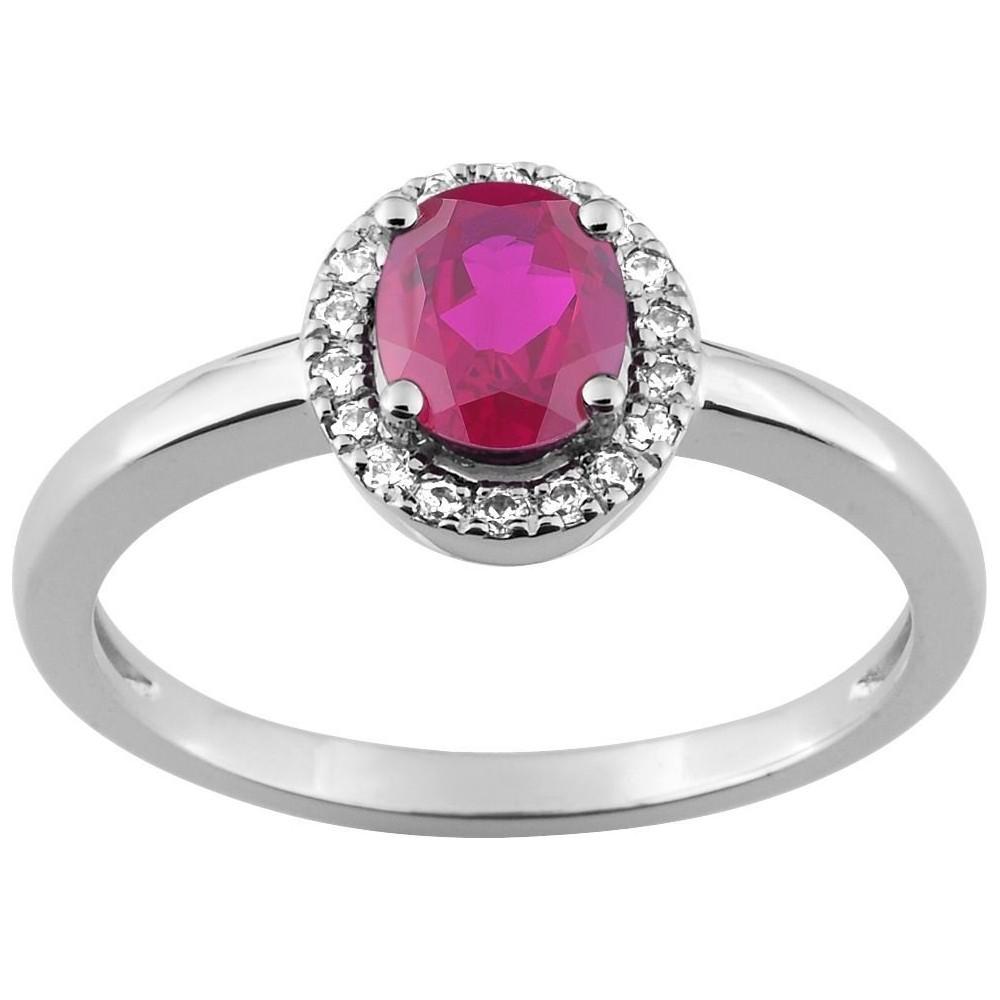 Bague FILEA or blanc 750 /°° diamants rubis 0,55 carat