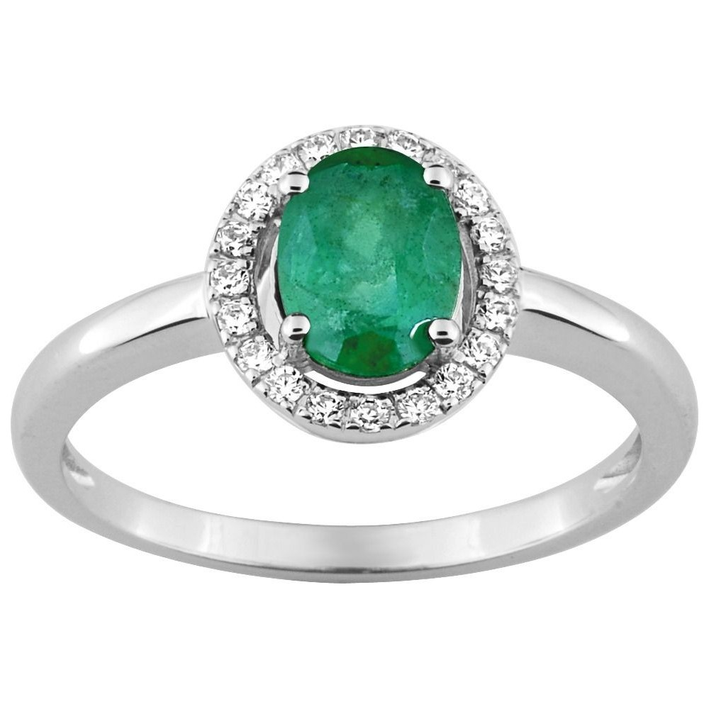 Bague COLEA or blanc 750 /°° diamants émeraude 0,73 carat