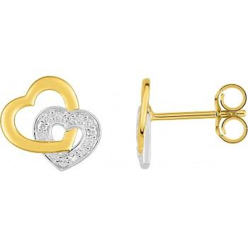 Boucles d'oreilles CUORE  or jaune or blanc 750 /°° diamants 0,02 carat