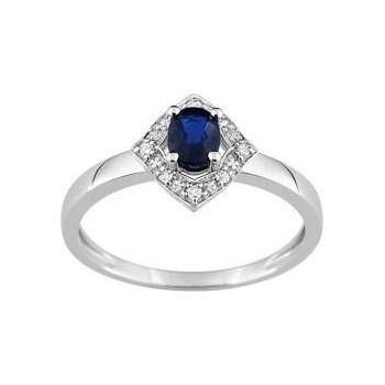 Bague LINA  or blanc 750 /°° diamants saphir bleu