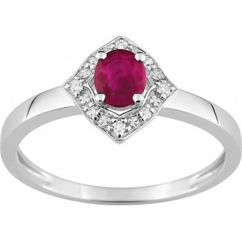 Bague LINA or blanc 750 /°° diamants rubis 0.47 carat