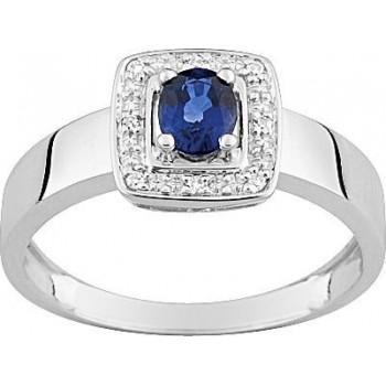 Bague ALLUREE or blanc 750 /°° diamants saphir bleu 0.47 carat