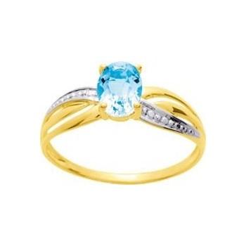 Bague YOOM or jaune 750 /°° topaze bleue