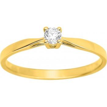 Bague de fiançailles CRIOS or jaune 750 /°° diamant 0,10 carat