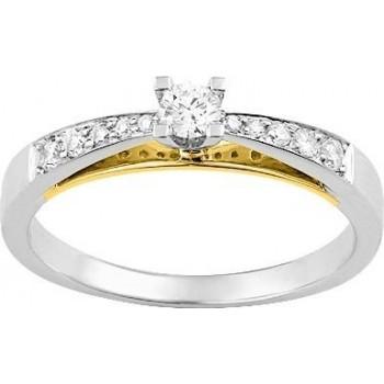 Bague de fiançailles LOVER or blanc or jaune 750 /°° diamants 0,25 carat